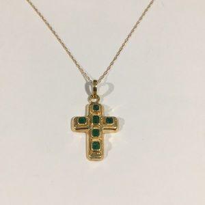 Jewelry - 18k Yellow Gold Cross Pendant W/ Green Emerald  💎